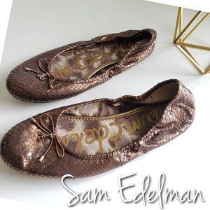 Sam Edelman Felicia bronze snake ballet flat